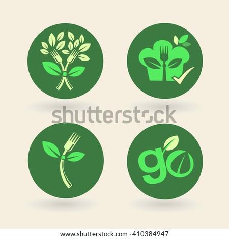 Set of organic eco bio vegetarian vegan natural labels - stock vector