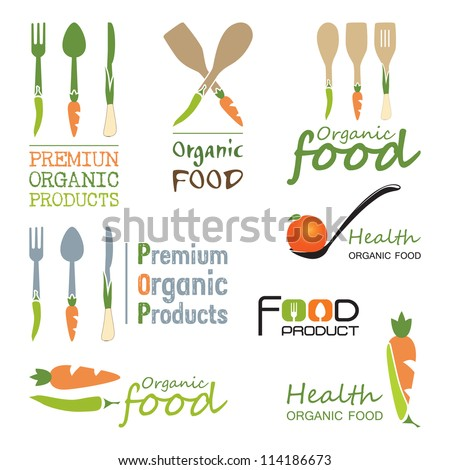 Set of organic food badges and labels - stock vector