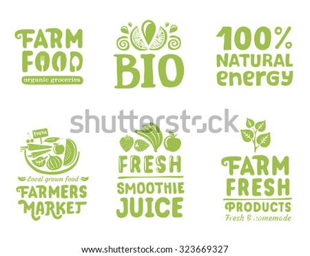 Set of organic writings, labels and icons for natural food  - stock vector