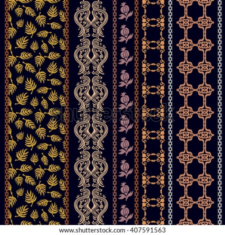 Set of oriental borders with bohemian motifs. Hand drawn seamless damask pattern, leaves print, baroque stripes, music notes. Vintage textile collection. Golden, silver shadows on black. - stock vector