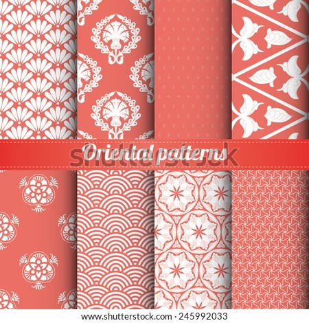 Set of 8 oriental patterns vector - stock vector
