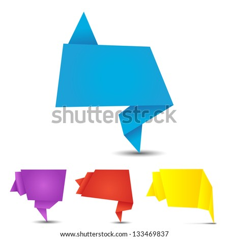 set of origami banners on a white background - stock vector