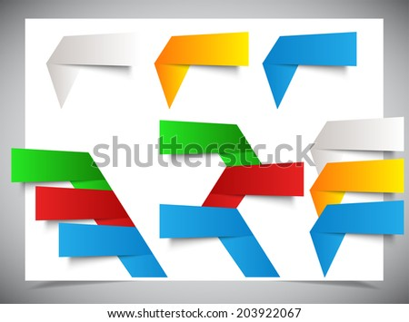 Set of origami color banners. vector illustration. - stock vector