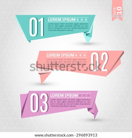 Set of origami labels for your design. Vector elements - EPS 10 - stock vector