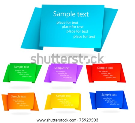 Set of origami paper banners.Vector background. - stock vector