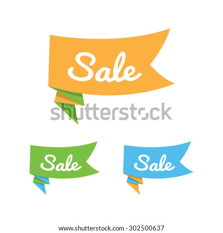 Set of Origami Sale Ribbons - stock vector