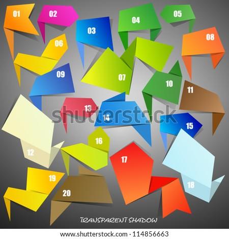 Set of Origami Speech Bubbles - stock vector