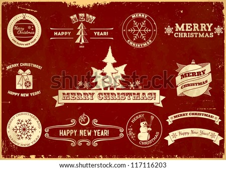 Set of original Christmas vintage labels - stock vector