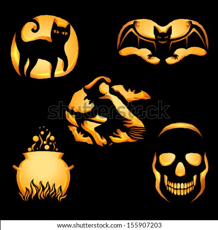 Set of original shapes for Jack O Lanterns, silhouettes of halloween symbols cut on pumpkin, detailed illustration, looks like a real cut, EPS 10, contains transparency. - stock vector
