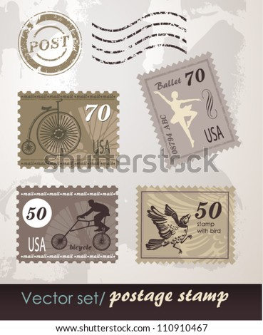 Set of original stamps - stock vector