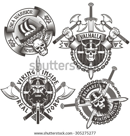 Set of 4 original Viking emblems. The logos on the theme of the Scandinavian warriors. - stock vector
