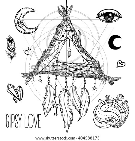 Set of Ornamental Boho Chic Style Elements. Vector illustration. Tattoo template. Hand drawn tribal symbol collection. Hippie design elements. Dreamcatcher. Coloring book for adults pages. Zentangle. - stock vector
