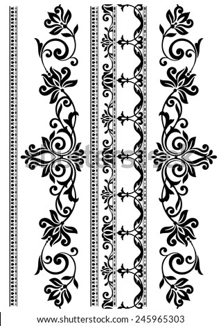 Set of ornamental borders. Vector illustration. - stock vector