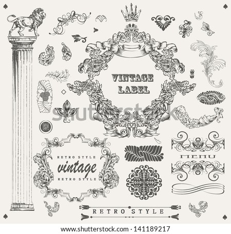Set of ornamental design elements vintage  - stock vector