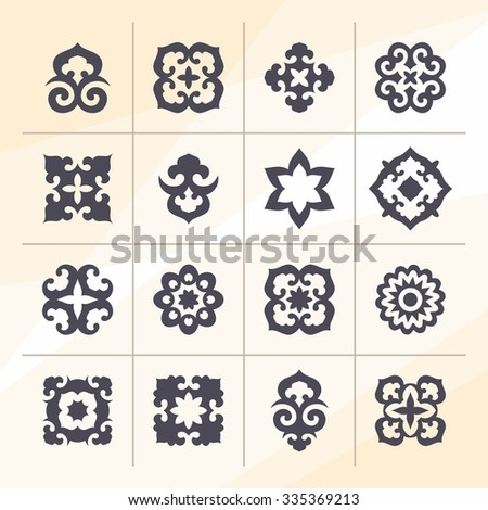 Set of ornamental elements in eastern style on abstract background. Oriental motifs - stock vector