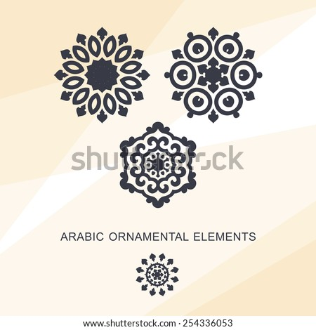 Set of ornamental elements in oriental style on abstract background. Circular design - stock vector
