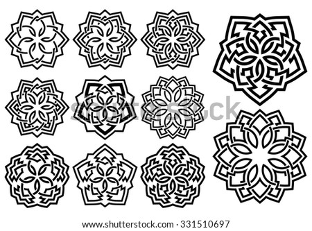 Set of ornamental pattern in arabesque style - stock vector