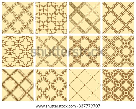 Set of 12 ornamental seamless wallpaper pattern  - stock vector