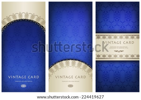 Set of ornate cards in Victorian style. Eastern floral decor . Template frame for greeting card and invitation. Ornate border and place for your text. Vector illustration - stock vector