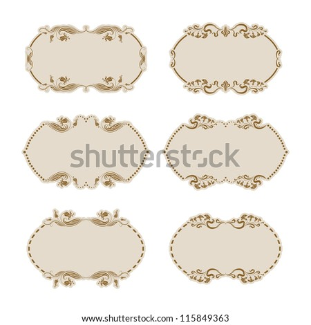 Set of ornate floral vector frames for invitations or announcements. In vintage style. - stock vector