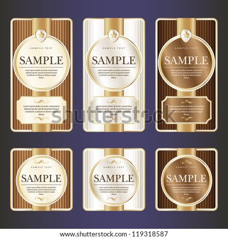Set of ornate label for chocolate. Grouped for easy editing. May be used also for labels or stickers for wine, beer, champagne, cognac, cologne and etc. - stock vector