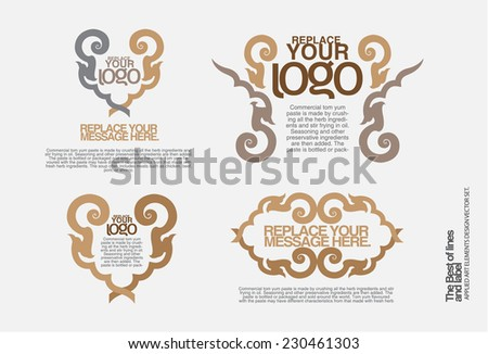 Set of ornate vector frames and ornaments with sample text. Perfect for classical invitation or announcement cards. - stock vector