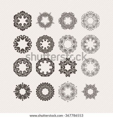 Set of ornate vector mandala borders and frames. Gothic lace tattoos. Celtic weave with sharp corners. The circular pattern. - stock vector