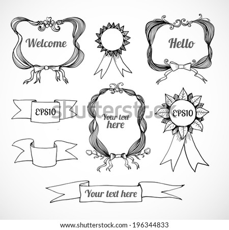 Set of ornated decorative borders. Vector illustration. - stock vector