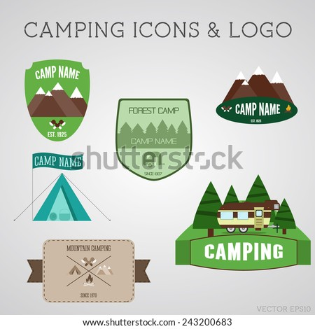 Set of outdoor adventure badges and campsite logo emblems. Summer 2015 stickers. Vector - stock vector