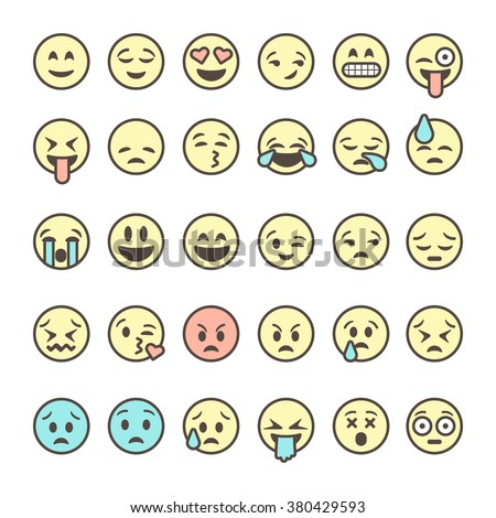 Set of outline emoticons, colorful emoji isolated on white background, vector illustration. - stock vector