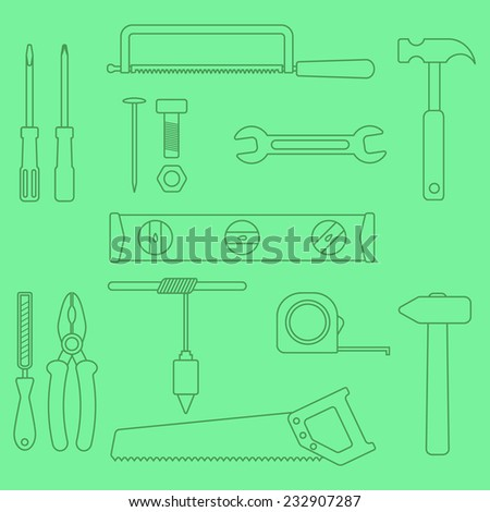 set of outline hand tools on green background. vector illustration - stock vector