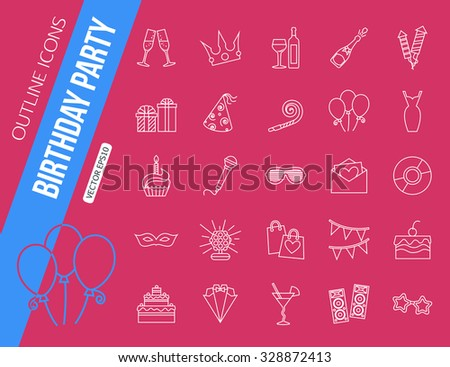 Set of outline holiday and party icons. Champagne, fireworks, cake, gift box dress. Vector illustration. - stock vector