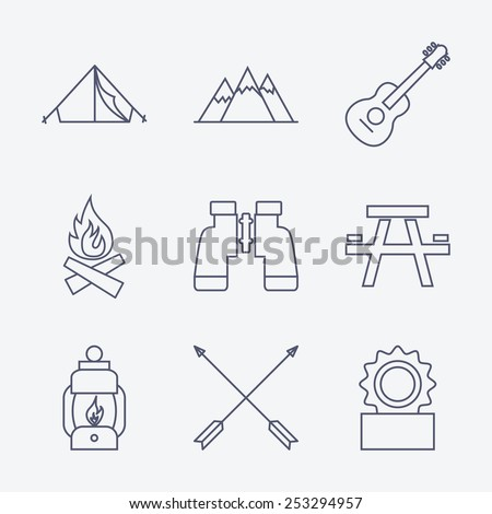 Set of Outline stroke Camping icons on white background. Vector illustration - stock vector