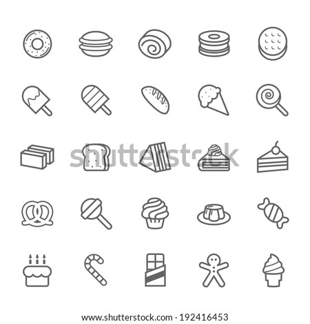 Set of Outline stroke Dessert and Sweet icon - stock vector