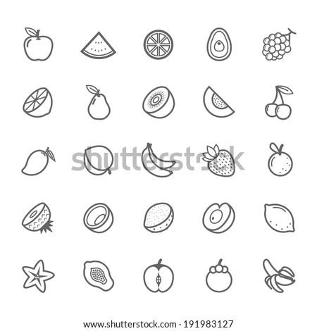 Set of Outline stroke Fruit icon Vector illustration - stock vector