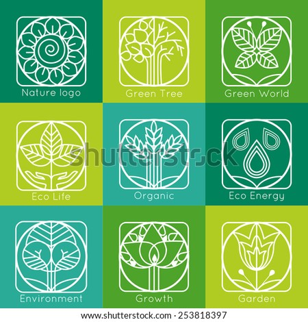 Set of outline tree monograms and logos. Abstract organic, ecology and bio design elements and badges. Vector illustration. - stock vector