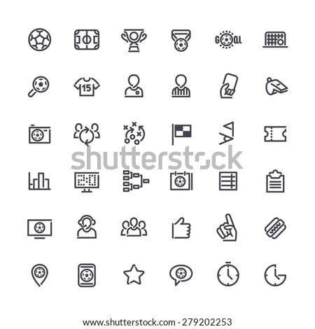 Set of Outline Vector Icons on the Theme of Soccer for Yours Sports Apps or other Projects. Isolated on white background. - stock vector