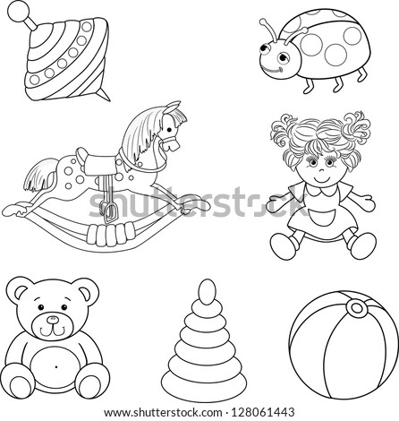 Set of outlined baby's toys elements.Vector illustration - stock vector