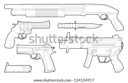 Set of outlined various weapons - illustration - stock vector
