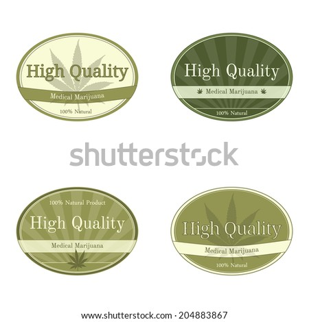 Set of oval shape labels for medical cannabis - stock vector