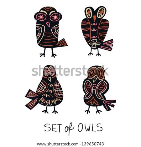 set of owls vector illustration - stock vector