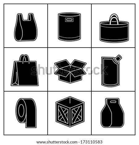 Set of package icons isolated on white. Vector illustration - stock vector