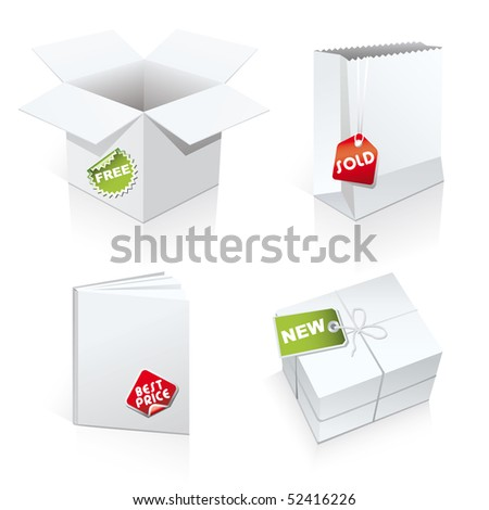 Set of 4 package templates - stock vector