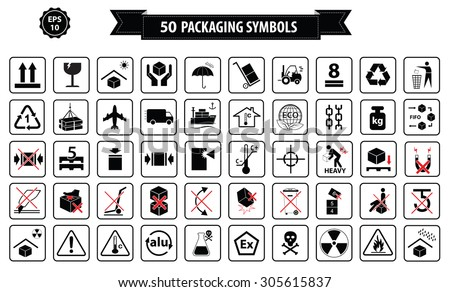 Set Of Packaging Symbols (this side up, handle with care, fragile, keep dry, keep away from direct sunlight, do not drop, do not litter, use only the trolley, use fifo system, max carton, recyclable) - stock vector