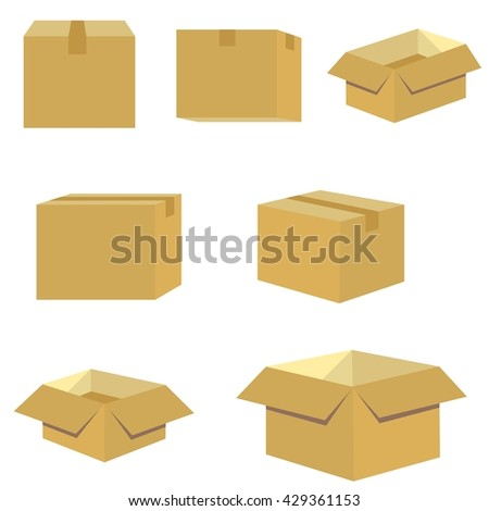 set of packing box in brown - stock vector