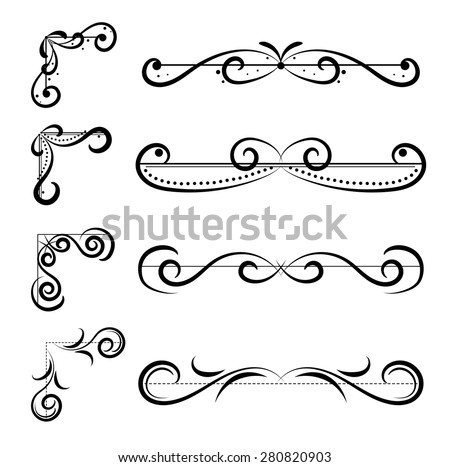 Set of page decoration line drawing design elements vintage dividers in black color. Vector illustration. Isolated on white background. Can use for birthday card, wedding invitations.  - stock vector