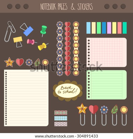 Set of pages notebook with stickers, colored tape, staples. Template for school accessories, scrapbooking, wrapping, notebooks, diary, decals. - stock vector