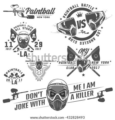 Set of paintball,paintball design,paintball tattoo.  - stock vector