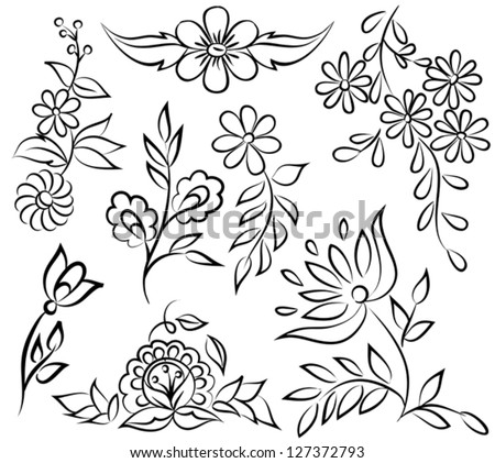 Drawings Of Flowers In Black And White Set of painted flowers black.