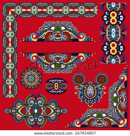 set of paisley floral design elements for page decoration, frame, corner, divider, circle snowflake, stripe pattern, vector illustration on red background - stock vector